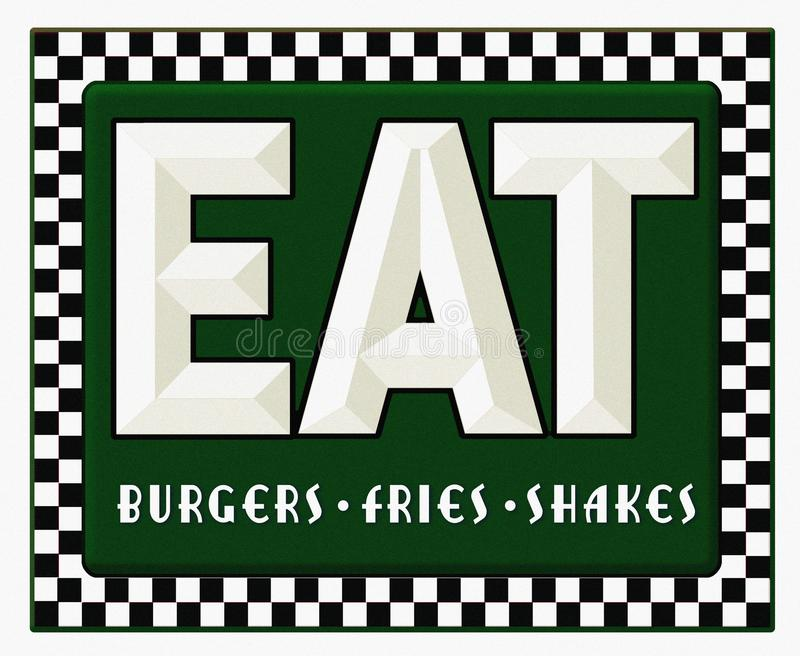 La muestra del comensal retra come sacudidas de las fritadas de las hamburguesas ilustración del vector