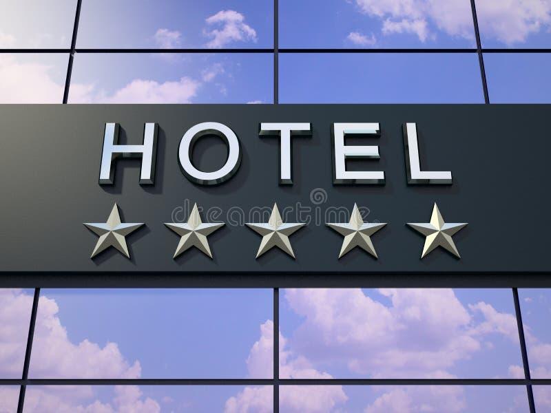 La muestra del hotel con cinco estrellas stock de ilustración