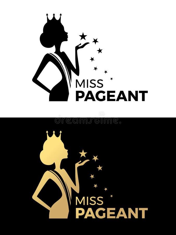 La muestra del logotipo del desfile de la Srta. con la reina de belleza lleva un diseño del vector de la estrella de la corona y  ilustración del vector