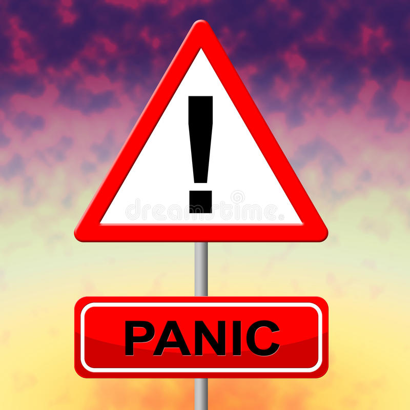 La muestra del pánico representa la exhibición y el letrero de la histeria stock de ilustración
