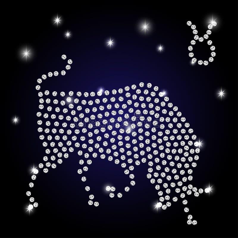 La muestra del tauro del zodiaco es el cielo estrellado stock de ilustración