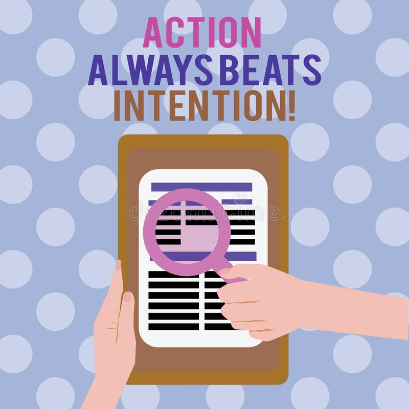 La muestra del texto que muestra la acción bate siempre la intención La foto conceptual materializada hace que sucede acto en ell ilustración del vector
