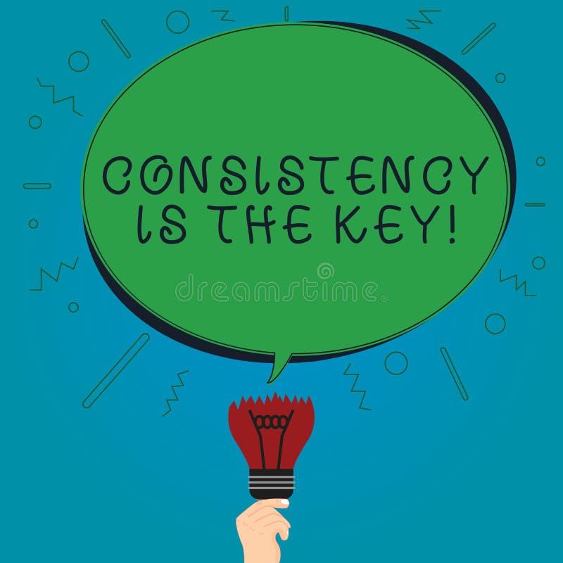La muestra del texto que muestra consistencia es la llave Esmero completo de la foto conceptual a una tarea un hábito que forma ó ilustración del vector