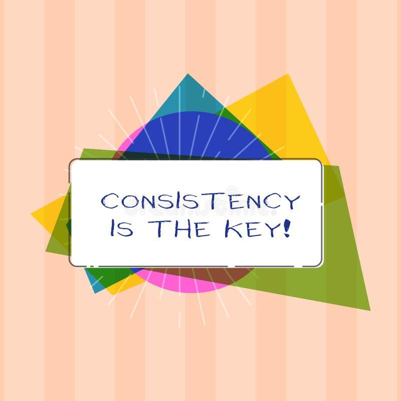 La muestra del texto que muestra consistencia es la llave Esmero completo de la foto conceptual a una tarea un hábito que forma p ilustración del vector