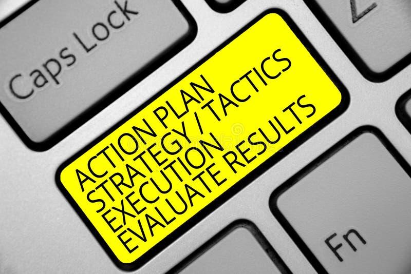 La muestra del texto que muestra la ejecución de las táctica de la estrategia del plan de actuación evalúa resultados Amarillo co imagen de archivo libre de regalías