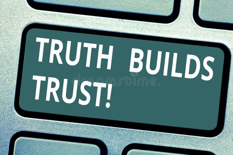 La muestra del texto que muestra estructuras de la verdad confía en foto conceptual que usted piensa que son confiables y que tie imágenes de archivo libres de regalías