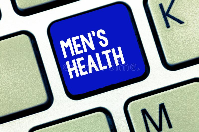 La muestra del texto que muestra a hombres s es salud Estado conceptual de la foto del bienestar físico y mental completo de homb imágenes de archivo libres de regalías