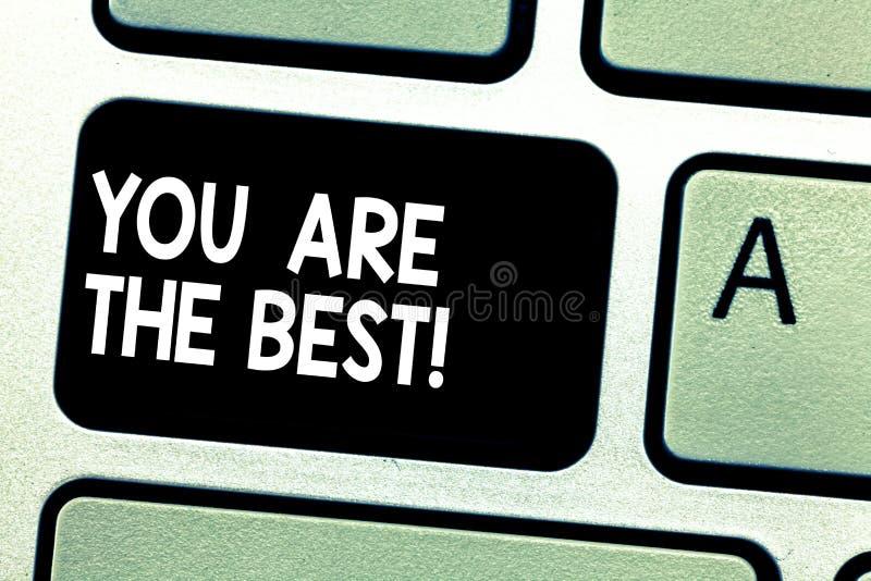 La muestra del texto que le muestra es el mejor aprecio conceptual de la foto de sus calidades y gran teclado de las habilidades  fotografía de archivo libre de regalías