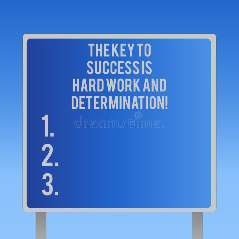 La muestra del texto que muestra la llave al éxito es difícilmente trabajo y determinación Esmero conceptual de la foto que traba stock de ilustración