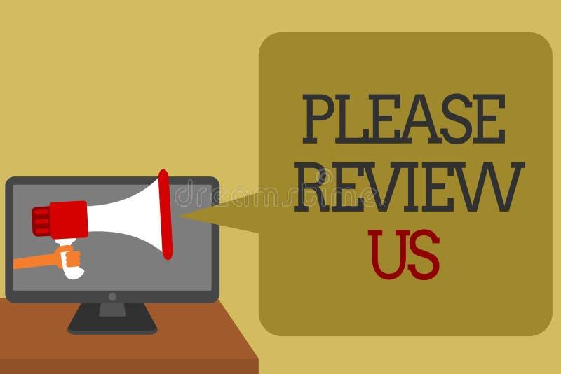 La muestra del texto que muestra por favor nos revisa La foto conceptual da a comentarios de una opinión de la reacción calidad d stock de ilustración