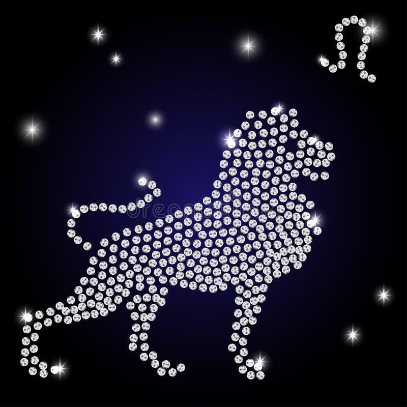 La muestra del zodiaco Leo es el cielo estrellado stock de ilustración