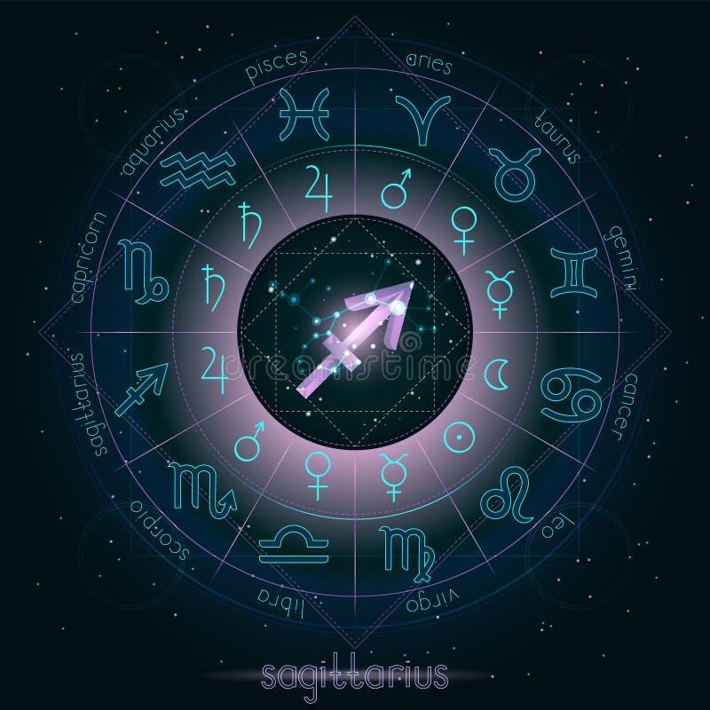 La muestra del zodiaco y el SAGITARIO de la constelación con horóscopo circundan en el fondo estrellado del cielo nocturno con el ilustración del vector