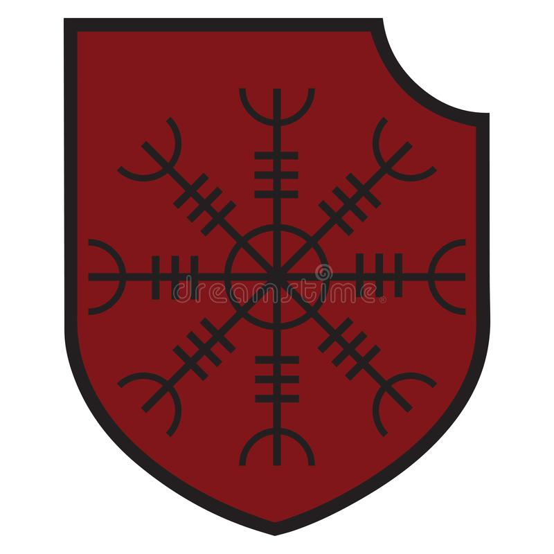 La muestra esotérica europea antigua - el sol negro y el escudo heráldico stock de ilustración