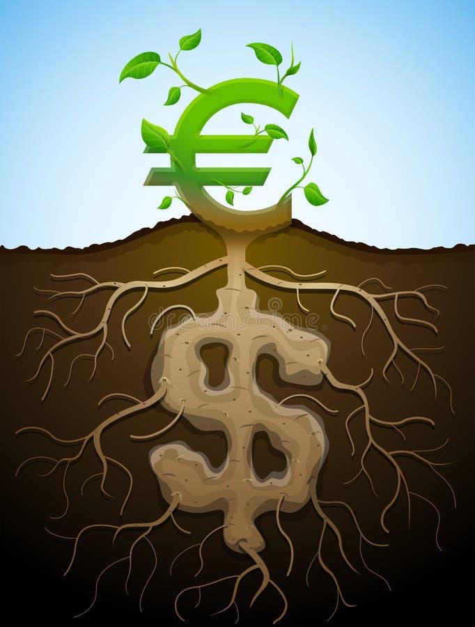 La muestra euro cada vez mayor como la planta con las hojas y el dólar les gusta raíces ilustración del vector