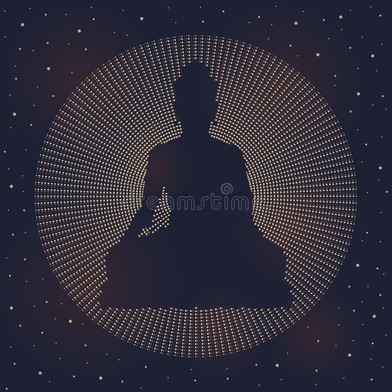 La muestra hecha de línea discontinua de Buda del círculo abstracto en vector oscuro del cielo nocturno y de la estrella diseña libre illustration