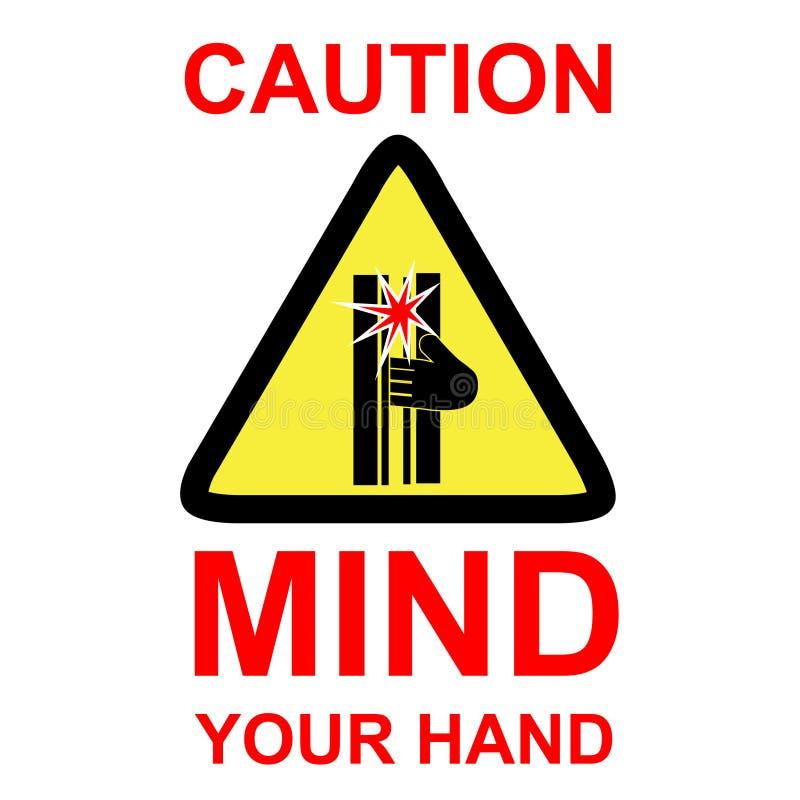 La muestra simple del vector, advierte mente su mano, aislada en el fondo blanco stock de ilustración