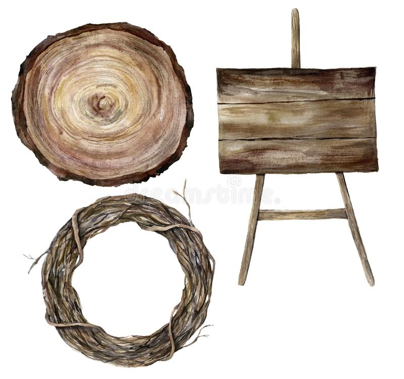 La muestra texturizada woodern de la acuarela, el corte transversal de un árbol y la rama de árbol enrruellan Accesorios de la bo stock de ilustración