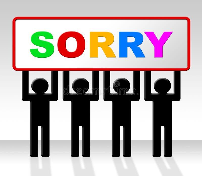 La muestra triste representa el cartel de la disculpa y se disculpa stock de ilustración