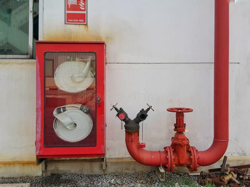 La muestra y la manguera del carrete de la manguera de bomberos aspan en caja fotografía de archivo libre de regalías