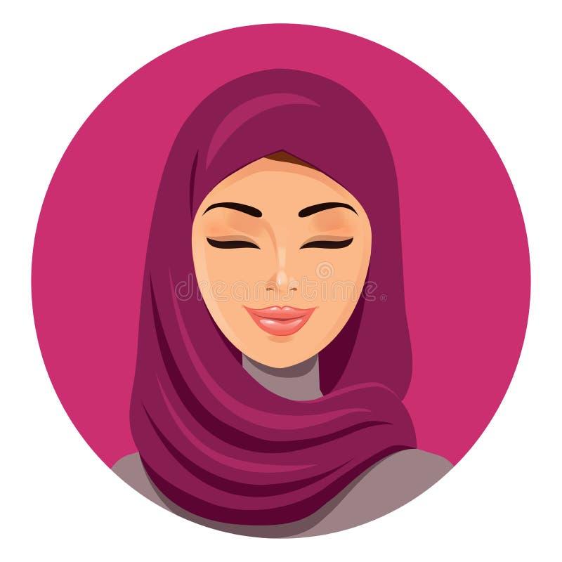 La mujer árabe musulmán hermosa en el hijab que la cierra los ojos vector al avatar plano del icono Cara hermosa de la mujer musu ilustración del vector