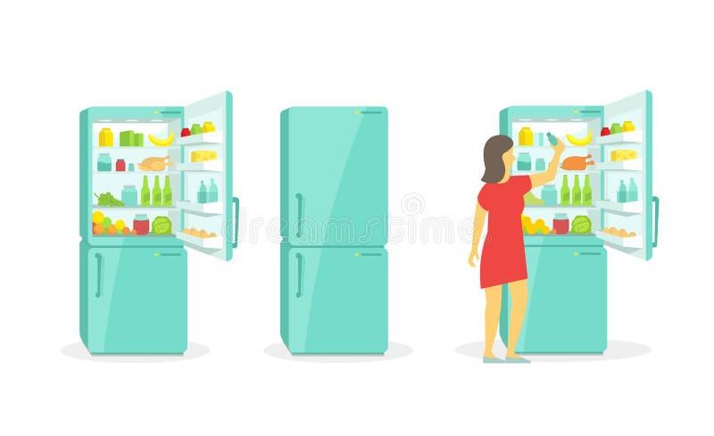 La mujer admite el refrigerador refrigerador Aparatos electrodomésticos de los productos ilustración del vector