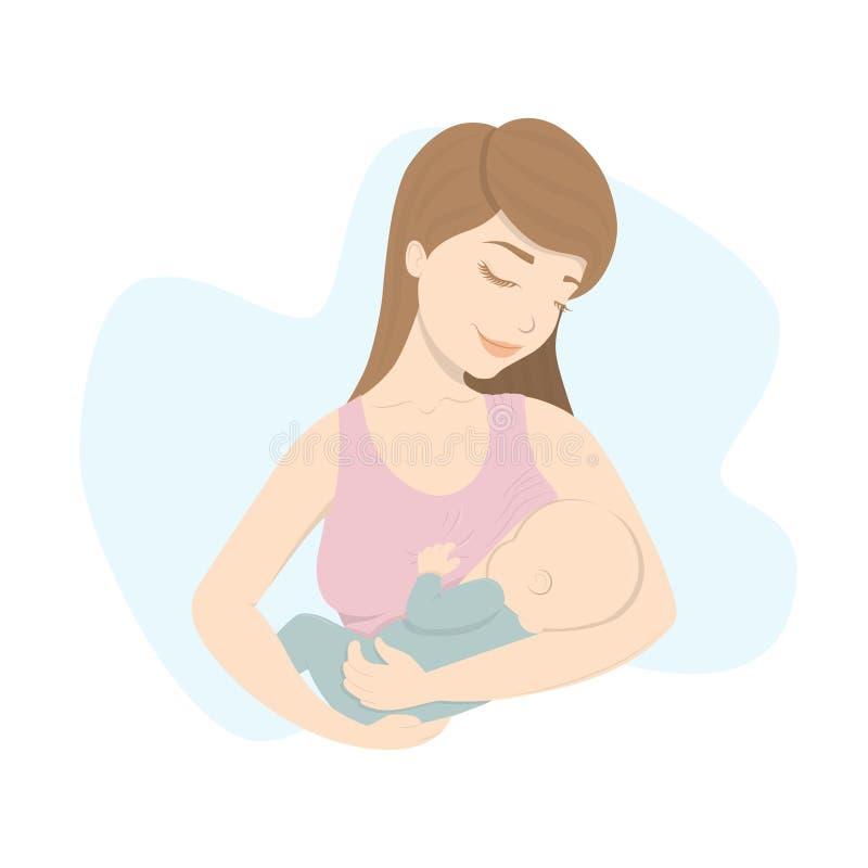 La mujer alimenta al bebé stock de ilustración