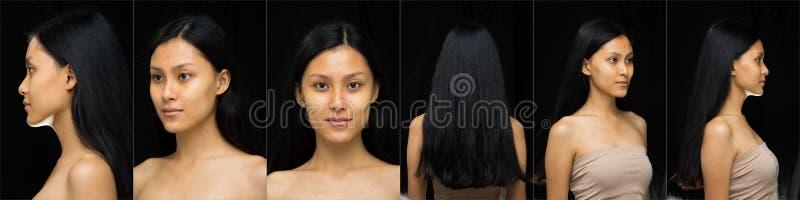 La mujer asiática antes de aplicar compone estilo de pelo imagen de archivo libre de regalías