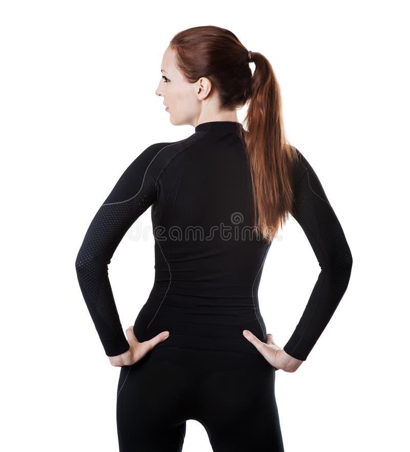 La mujer atractiva en negro thermolinen la ropa interior fotos de archivo