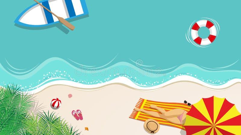 La mujer atractiva en traje de natación del bikini toma tomar el sol en la playa con el barco que flota sobre el mar azul con el  stock de ilustración