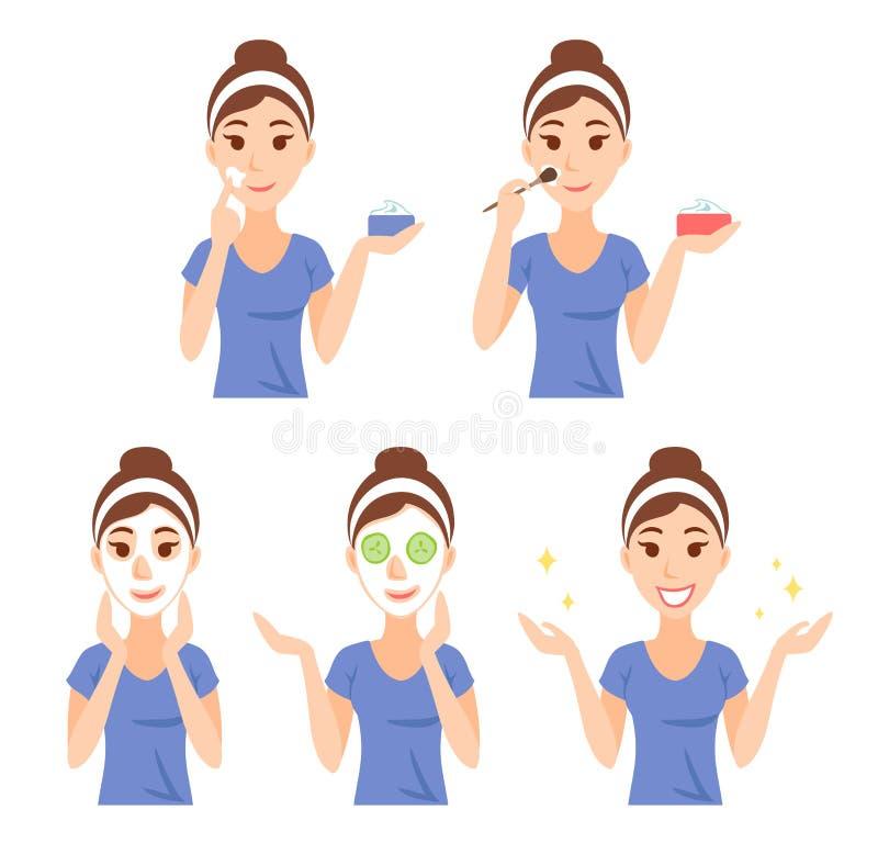 La mujer bastante joven atractiva se vistió en camiseta casual cuida su cara y piel, usando la crema y la aplicación de la máscar stock de ilustración
