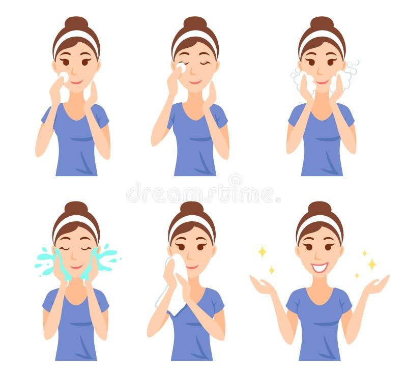 La mujer bastante joven atractiva se vistió en camiseta casual quita maquillaje, limpio, lavado para arriba y cuida su cara con l stock de ilustración