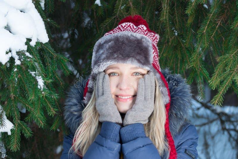 La mujer bastante joven en sombrero toca mejillas cerca de árbol de abeto verde fotos de archivo