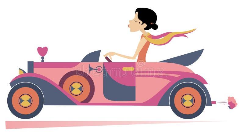 La mujer bonita conduce el ejemplo del coche stock de ilustración