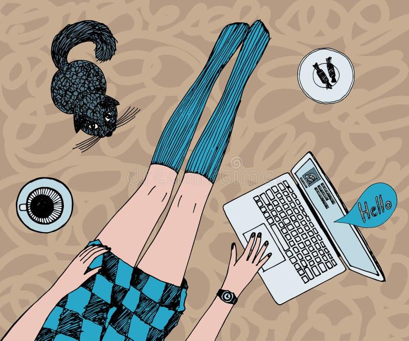 La mujer bonita joven con el gato está charlando en línea Piernas hermosas largas en medias y vestido corto Mano coloreada dibuja ilustración del vector