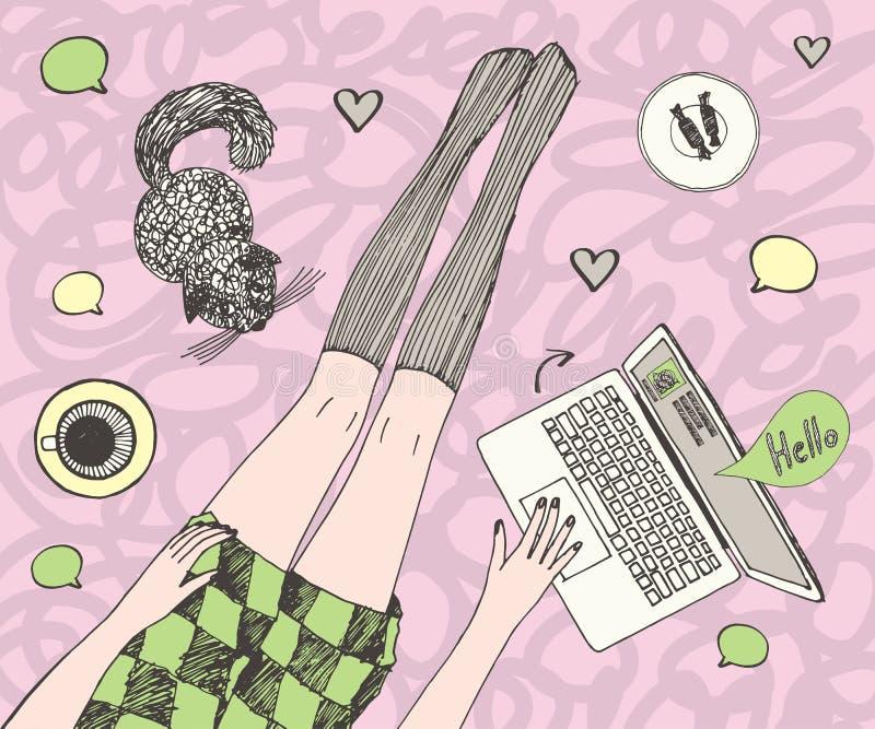 La mujer bonita joven con el gato está charlando en línea Piernas hermosas largas en medias y vestido corto Mano coloreada dibuja stock de ilustración