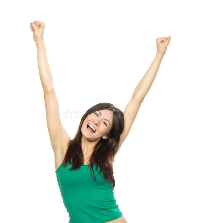 La mujer bonita joven da encima de los brazos aumentados fotografía de archivo