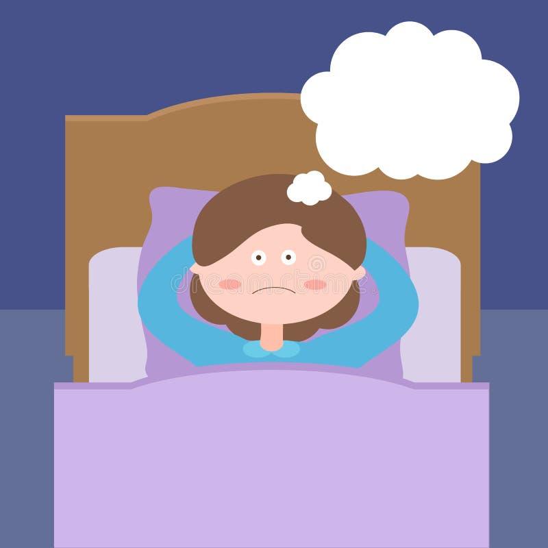 La mujer bonita piensa antes de la hora de acostarse, mintiendo en cama insomnio ilustración del vector