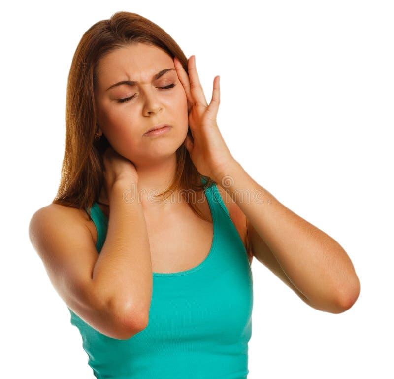 La mujer cansó el dolor de cabeza de la tensión del dolor, su tenencia fotos de archivo libres de regalías