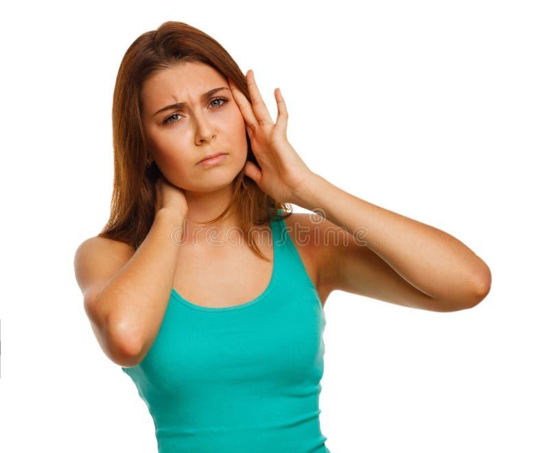 La mujer cansó el dolor de cabeza del dolor de la tensión, sosteniendo el suyo fotos de archivo libres de regalías