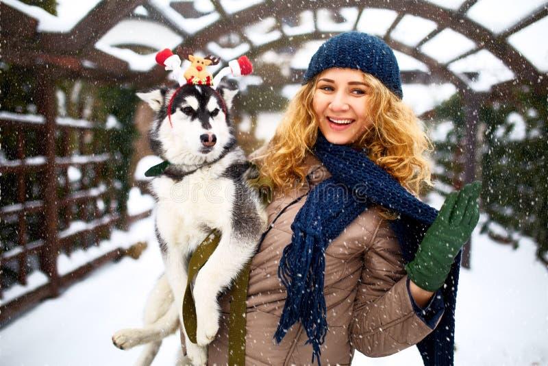 La mujer caucásica auténtica atractiva abraza el perro divertido del malamute que lleva las estimadas astas de la Navidad de sant fotos de archivo