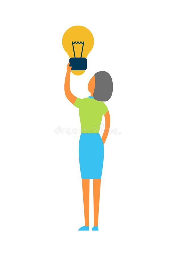 La mujer celebra el ejemplo brillante del vector de la bombilla ilustración del vector