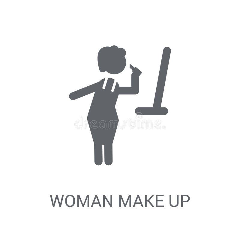 La mujer compone el icono La mujer de moda compone concepto del logotipo en b blanco libre illustration