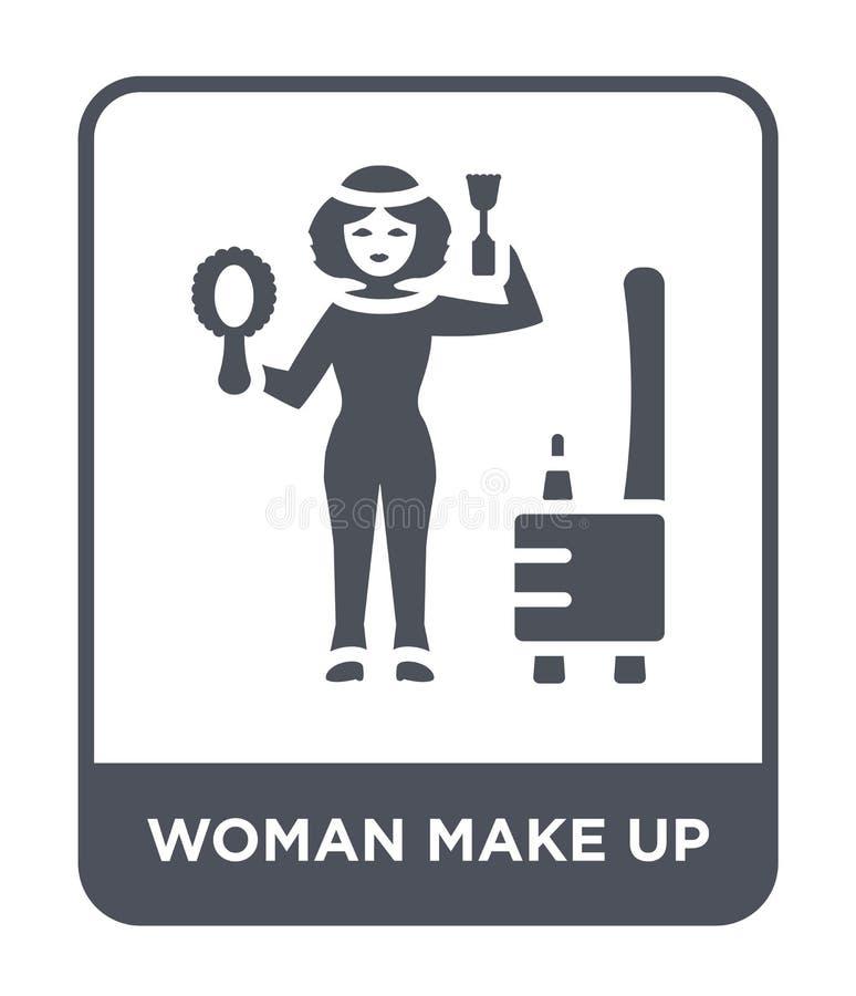 la mujer compone el icono en estilo de moda del diseño la mujer compone el icono aislado en el fondo blanco la mujer compone el i ilustración del vector