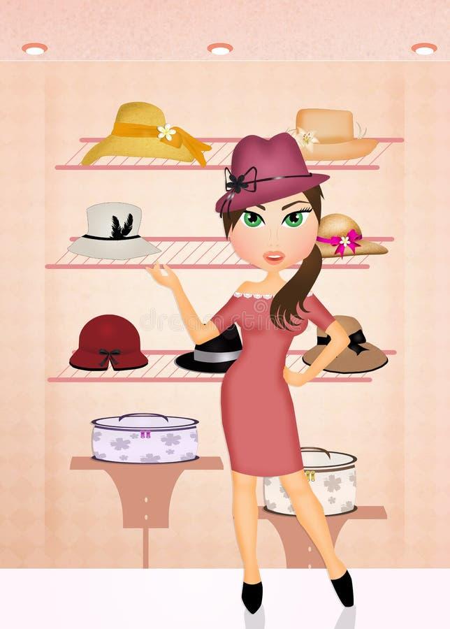 La mujer compra sombreros libre illustration