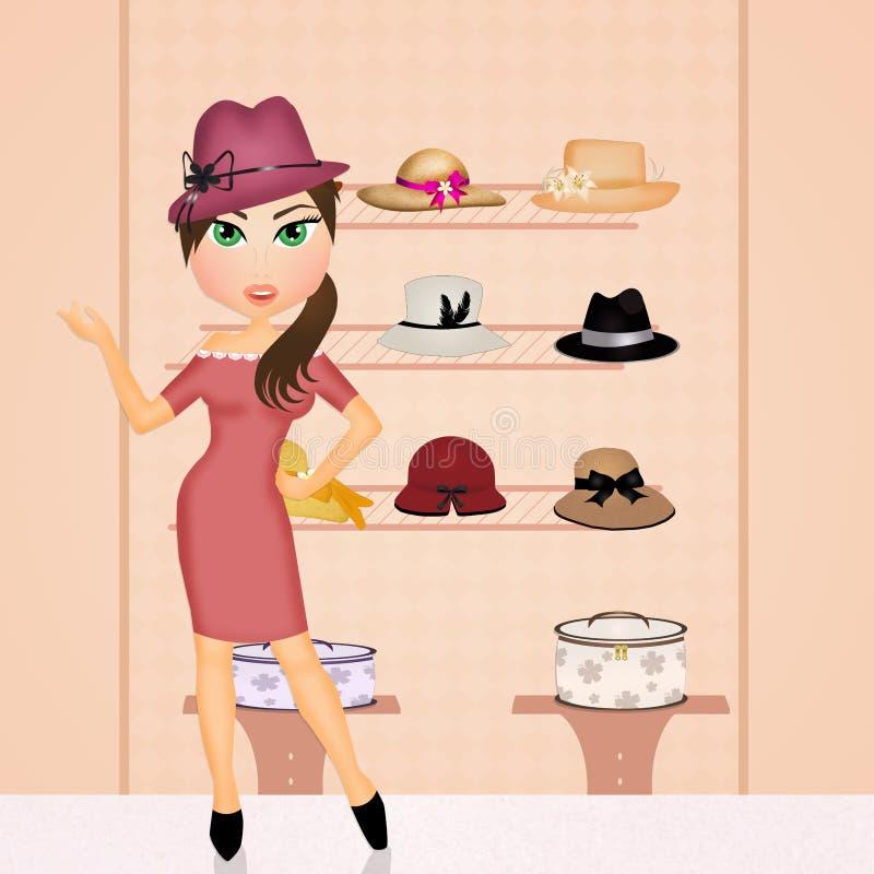 La mujer compra sombreros stock de ilustración
