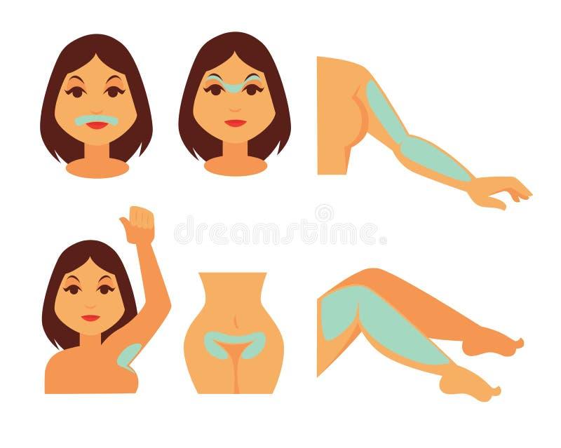 La mujer con crema de la depilación se aplicó en su cuerpo ilustración del vector