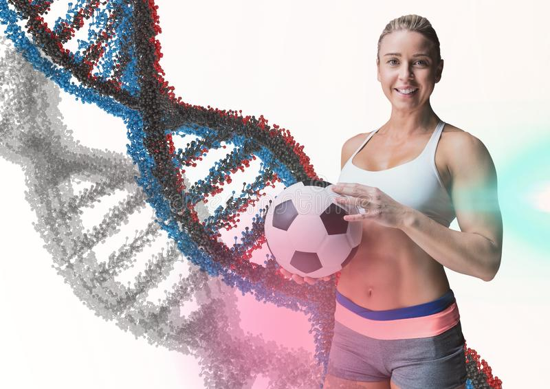La mujer con el balón de fútbol con la cadena azul, gris y roja de la DNA en un fondo blanco y algo señala por medio de luces stock de ilustración