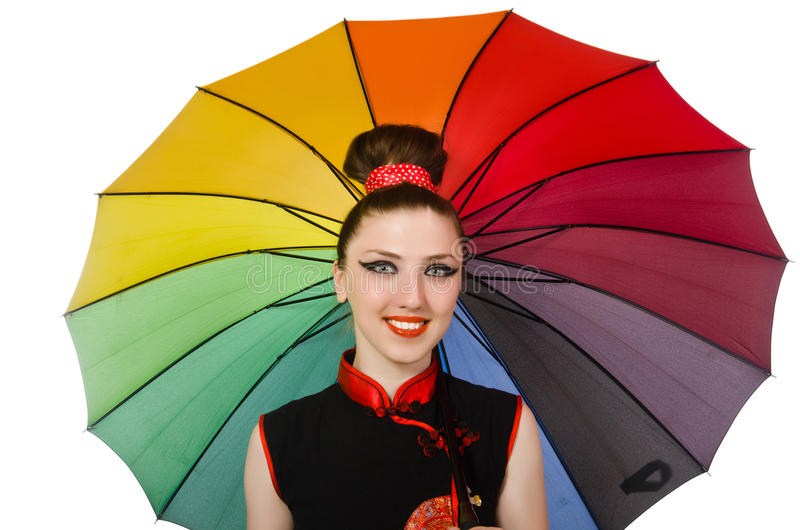 La mujer con el paraguas colorido aislado en blanco fotos de archivo