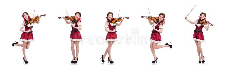 La mujer con el violín aislado en blanco imágenes de archivo libres de regalías