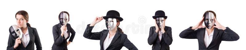 La mujer con la máscara en concepto de la hipocresía imagen de archivo libre de regalías